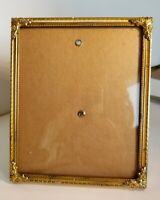 """Convex Glass Brass Metal Vintage Easel Back Picture Frame c1930s 4.75"""" x 3.75"""""""