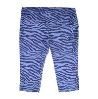 Tribal Womens Pants Blue Steel Size 16W Plus Zebra Pull On Capri Stretch $68 049