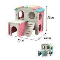 Small Animal Pet House Cage Nest Hamster Hedgehog Castle Climbing Toy Wood
