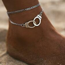 1Pc Trendy Women's Jewelry Sl Vintage Handcuffs Anklets Double Layers Ornaments