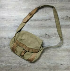 LL BEAN Canvas & Leather Cross Body Saddle Messenger Bag - khaki/tan