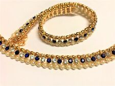 22K Gold Plated Anklet With Crystal Pearls For Women Bridal Party Prom Anklets