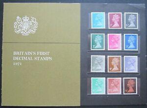 GB QEII 1971 BRITAINS FIRST DECIMAL STAMPS, RARE SCANDINAVIA PRESENTATION PACK.