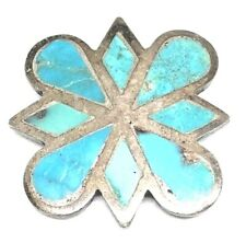 ZUNI Sterling Silver Turquoise Channel INLAY Blue Gem Pin Brooch 925 Vintage