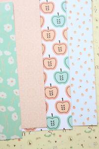 Peach Mint Card Stock 250gsm cartoon floral fruit pattern cardstock journal card