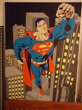 ORIGINAL HUGE 40'' X 30'' PAINTING  '' SUPERMAN '' BY ARTIST JAMES CHEN