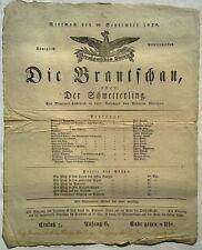 RARE 1828 GERMAN BRESLAUISCHES THEATER BROADSIDE THE BUTTERFLY WILHEM MARSANO