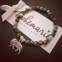 African turquoise jasper elephant charm bracelet gemstone stack jewellery boho