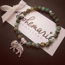 African Turquoise Jasper Elephant Charm Bracelet Gemme Bijoux Bijoux Boho
