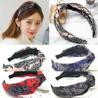 Women Headband Twist Hairband Bow Knot Cross Tie Wide Headwear Floral Hair Hoop