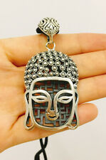 Buddha Head Face Buddhism Yoga 925 Sterling Silver Necklace Pendant Jewelry