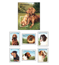 AFG9803 Dogs block and 6 stamps