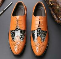 Mens Business Pumps Casual Leather Floral Carved Wing Tip Wedding Oxfords Shoes