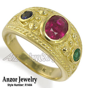 Etruscan Byzantine Style Men's 18k Gold Ruby Sapphire Emerald Ring 13mm #R1484