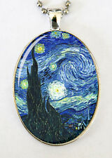 Starry Night necklace LARGE 40X30mm Glass domed pendant von gogh fine art