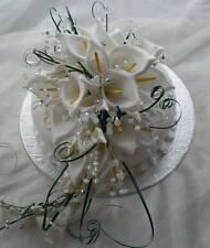 Nozze FIORI GRANDI Cake Topper bouquet doccia Bianco Calla Lily con cristalli
