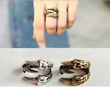 Silver Dragon eagle claw ring statement jewellery velvet gift bag retro punk uk
