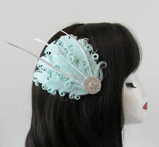 Mint Green White Feather Fascinator Hair Clip Headpiece Vintage Silver 1920s S83