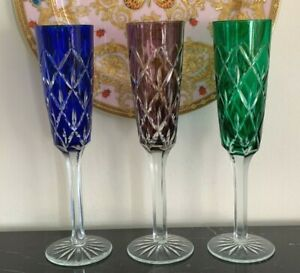 """Crystal Clear Industries Tall Champagne Color Glasses 10"""" Set of 3"""