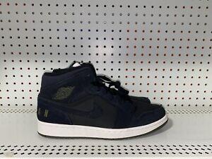 RARE Jordan 1 Mid Black Olive Canvas Mens Basketball Shoes Size 13 BQ6579-001