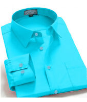 Men's Regular Fit Long Sleeve Solid Color One Pocket Casual Dress Shirt Aqua