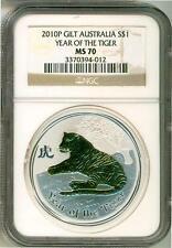 2010 S$1 Australia Gilt Lunar Year Of The Tiger 1 Oz. Silver NGC MS70 Box & COA