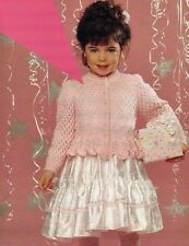 "#203 GIRLS DK 4 VERSIONS PEPLUM & LACY CARDIGANS 20-30"" 1-11yrs KNITTING PATTERN"