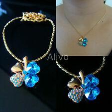 Collane e pendagli di bigiotteria blu con cuore in cristallo