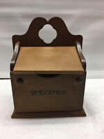 Vintage wood wall hanging counter top recipe card storage box holder 8 inch Tall