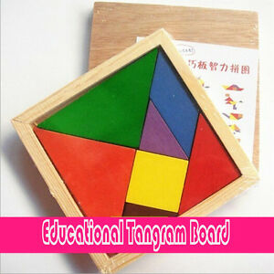 New Children Kids Educational Tangram Board Shape Wooden Puzzle Toy Best Gifts