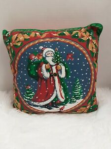 """Avon Products Vintage Throw Pillow W/Vintage Santa Date 9-15-95 Approx. 12"""" X 12"""
