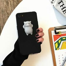 Squishy 3D Soft Silicone Lazy Cat Phone Shell Case Cover for iPhone 7 BLACK