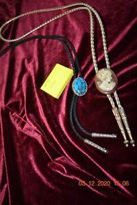 2 Vintage Bolero Tie Necklaces - 1 Cameo & 1 Turquoise