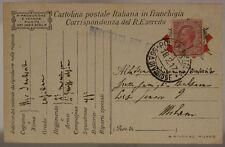 POSTA MILITARE 56a DIVISIONE 18.2.1917 FRANCHIGIA AFFRANCATA #XP305D