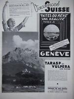 PUBLICITÉ DE PRESSE 1935 VACANCES EN SUISSE GENÈVE TARASP VULPERA - ADVERTISING