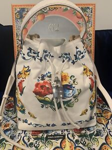 Dolce & Gabbana  Majolica Claudia Bucket Bag NEW
