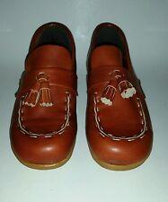 Vtg Sebago Womens 5.5 Cognac Leather Moc Wedge Loafers Boho '70s