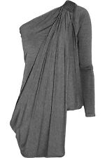 $650 KAUFMANFRANCO Asymmetric Off the Shoulder Stretch-Jersey Gray Top Sz S NWOT