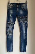 BLUE STUD DIAMANTE JEANS EUR 38 10 CUT OUT SKINNY TROUSERS WINTER TOWIE CHELSEA