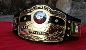 NWA DOM GLOBE WORLDS HEAVYWEIGHT CHAMPION WRESTLING BELT 4MM IN ZINC & 24k GOLD