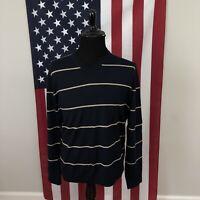 Banana Republic Merino Wool V-Neck Sweater men's XL navy blue striped 1e266p