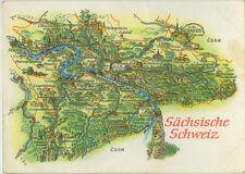 Alte topografische Postkarte Sächsische Schweiz 1970