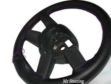 FOR MERCEDES SPRINTER MK1 BLACK LEATHER STEERING WHEEL COVER 95-03 PURPLE STITCH