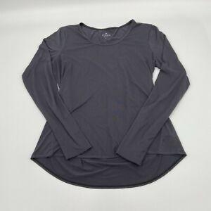 Athleta Women Dark Gray Stretch Chi Long Sleeve Thumbholes Top Shirt 964344-08 L