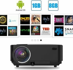 Android Mini Projector - Portable LED Projector Support Full HD 1080P, Wifi Home