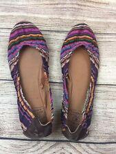 Lucky Brand Womens Emmie 2 Ballet Flats  Sz L 5 & R5.5 Striped Fabric Boho Shoes