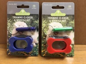 DOG PUPPY TRAINING CLICKER & WHISTLE TEACHING TOOL DOGS TRAINER REWARD TRAIN NEW