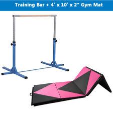 "4'x10'x2"" Folding Exercise Gym Mat Gymnastics Fitness Exercise With Training Bar"