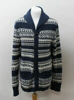 LEVI'S Ladies Blue Ivory Patterned Striped Knit Button Front Cardigan Size S