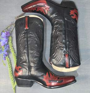Lucchese Charlie 1 Horse Leather Black Red  Bomber Western Cowboy Boots 10 D